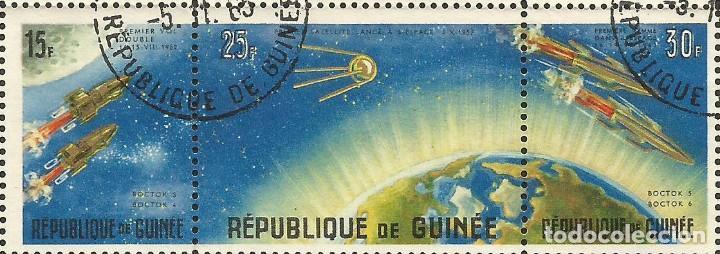 Sellos: REPÚBLICA DE GUINEA - 1965 - BLOQUE / HOJA - VIAJE ESPACIAL CON BELYAYEV Y LEONOV - Foto 6 - 243687945