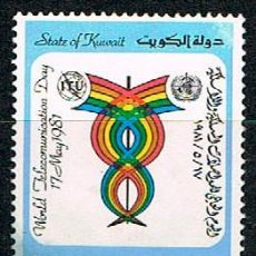 Sellos: KUWAIT IVERT Nº 874, DIA MUNDIAL DE LAS TELECIOMUNICACIONES: TELECOMUNICACIONES Y SALUD, USADO. Lote 244195470