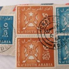 Sellos: SOUTH ARABIA. 5 SELLOS 5 Y 25 FILS. PEGADOS A TROZO DE CARTA. MATASELLO ADEN, 1964. Lote 252522015