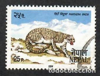 LIQUIDACIÓN. NEPAL 1987, YVERT 415. FAUNA. MAMÍFEROS. LEOPARDO DE LAS NIEVES, USADO. (Sellos - Extranjero - Asia - Otros paises)