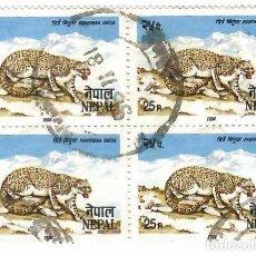 Sellos: LIQUIDACIÓN. NEPAL 1987, YVERT 415. BLOQUE DE 4. FAUNA. MAMÍFEROS. LEOPARDO DE LAS NIEVES, USADO.. Lote 262966915