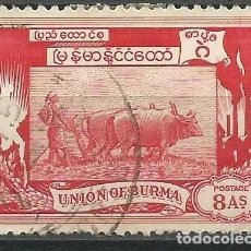 Sellos: BIRMANIA - UNION OF BURMA - 8 ANNAS - USADO. Lote 269502013