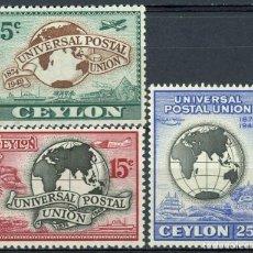 Sellos: CEYLAN 1949 YVERT 277/9 ** 75º ANIVERSARIO DE LA UNIÓN POSTAL UNIVERSAL - U.P.U.. Lote 270138798