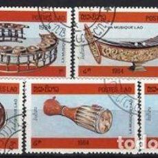 Francobolli: LAOS 1984 - INSTRUMENTOS MUSICALES, 5 VALORES - USADOS. Lote 270209438