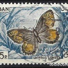 Sellos: LÍBANO 1965 - FAUNA, MARIPOSAS, SÁTIRO - USADO. Lote 270233013