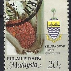 Sellos: MALASIA / PULAU PINANG 1986 - AGRICULTURA, ELAEIS GUINEENSIS - USADO. Lote 270356168