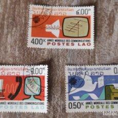 Sellos: 1983 - LAOS - AÑO MUNDIAL DE LAS COMUNICACIONES - 3 SELLOS. Lote 277539708
