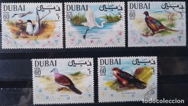 LOTE 5 SELLOS DUBAI AVES (MATASELLADOS) (Sellos - Extranjero - Asia - Otros paises)