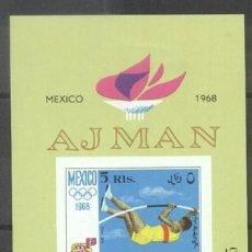 Sellos: AJMAN 1968 SPORT OLYMPIC GAMES SHEETS MI.B33B MNH N.014. Lote 288535533
