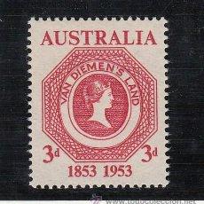 Sellos: AUSTRALIA 206 CON CHARNELA, CENTENARIO DEL SELLO DE LA TIERRA DE VAN DIEMEN (TASMANIA) . Lote 48287462