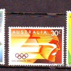 Sellos: AUSTRALIA***.1984.YVERT 871/873.JUEGOS OLIMPICOS LOS ANGELES.DEPORTES.. Lote 26511627