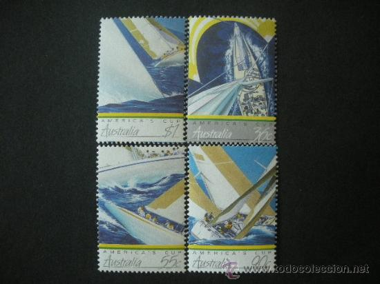AUSTRALIA 1987 IVERT 986/9 *** DEPORTES - COPA AMERICA DE VELA - BARCOS (Sellos - Extranjero - Oceanía - Australia)