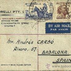 Sellos: SOBRE CIRCULADO CON SELLO Y MATASELLOS DE AUSTRALIA - 1950. Lote 27181170