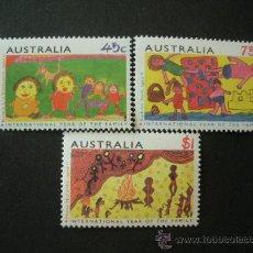 Sellos: AUSTRALIA 1994 IVERT 1359/61 *** AÑO INTERNACIONAL DE LA FAMILIA - DIBUJOS INFANTILES. Lote 35179519