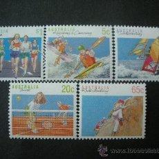 Sellos: AUSTRALIA 1990 IVERT 1140/4 *** SERIE BÁSICA - DEPORTES (III) - TENIS, VELA, ATLETISMO Y ESCALADA . Lote 35179563