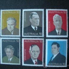 Sellos: AUSTRALIA 1975 IVERT 558/63 *** PERSONAJES ILUSTRES (VI) - PRIMEROS MINISTROS. Lote 36049409