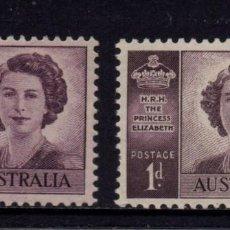 Sellos: AUSTRALIA 155/55A** - AÑO 1947 - BODA REAL DE LA PRINCESA ISABEL. Lote 105138566