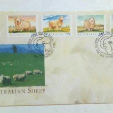 Sellos: AUSTRALIA SOBRE PRIMER DÍA 1989 RAZAS OVINO OVEJAS. Lote 74624258