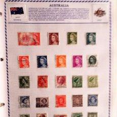 Sellos: AUSTRALIA, 3 HOJAS CON 60 SELLOS USADOS DIFERENTES CON CHARNELAS, VER FOTOS . Lote 99294279