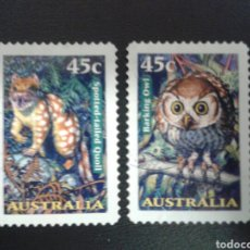 Sellos: AUSTRALIA. YVERT 1621/2. SERIE COMPLETA USADA. FAUNA. MAMÍFEROS. AVES. BUHO. Lote 114408060