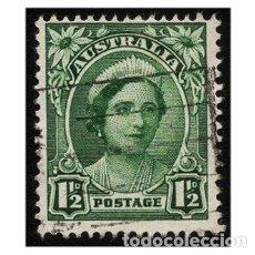 Sellos: AUSTRALIA 1949. MI 195, YT 163B. MONARQUÍA. REINA ISABEL. USADO. Lote 143738246