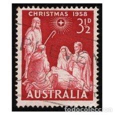 Sellos: AUSTRALIA 1958. MI 286, YT 247. NAVIDAD. ADORACIÓN. BELÉN. USADO. Lote 143738938