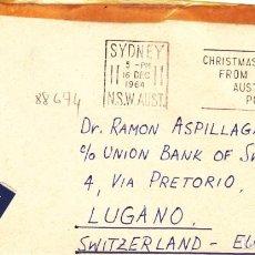 Sellos: SOBRE 1964: AUSTRALIA - SUIZA. Lote 143828398