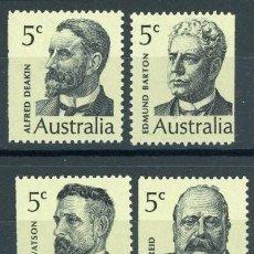Sellos: AUSTRALIA 1969 IVERT 397/400 *** SERIE BÁSICA - PERSONAJES ILUSTRES (II). Lote 145523262