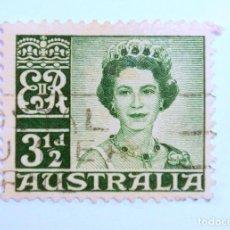 Sellos: SELLO POSTAL AUSTRALIA 1959, 3 1/2 D. REINA ELIZABETH II , USADO. Lote 153210162