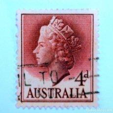Sellos: SELLO POSTAL AUSTRALIA 1957, 4 D. REINA ELIZABETH II , USADO. Lote 153210726