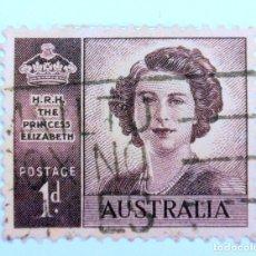 Sellos: SELLO POSTAL AUSTRALIA 1948, 1 D. CUMPLEAÑOS PRINCESA ELIZABETH , USADO . Lote 153213014