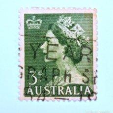 Sellos: SELLO POSTAL AUSTRALIA 1953, 3 D. REINA ELIZABETH II, CONMEMORATIVO, USADO. Lote 153214986