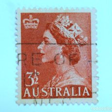 Sellos: SELLO POSTAL AUSTRALIA 1956, 3 1/2 D. REINA ELIZABETH II, USADO. Lote 153276786