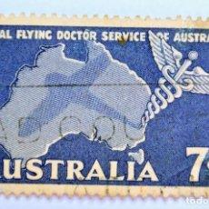 Sellos: SELLO POSTAL AUSTRALIA 1957, 7 D. , SERVICIO DE VUELO MÉDICO REAL, CONMEMORATIVO, USADO. Lote 153277002