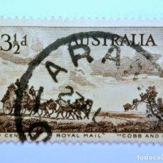 Sellos: SELLO POSTAL AUSTRALIA 1955, 3 1/2 D, 19TH CENTURY COBB AND CO, USADO . Lote 153277062