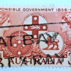 Sellos: SELLO POSTAL AUSTRALIA 1956, 3 1/2 D, GOBIERNO RESPONSABLE 1856-1956, USADO . Lote 153277086