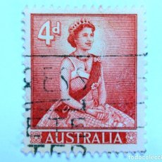 Sellos: SELLO POSTAL AUSTRALIA 1959, 4 D, REINA ELIZABETH II, USADO . Lote 153277118