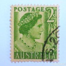 Sellos: SELLO POSTAL AUSTRALIA 1951, 2 D, REINA ELIZABETH II, USADO . Lote 153277174