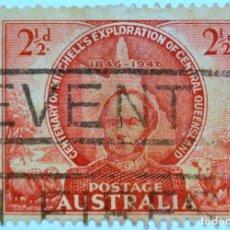 Sellos: SELLO POSTAL AUSTRALIA 1946, 2 1/2 D, THOMAS MITCHELL EXPLORATION CENTENARY, USADO . Lote 153277210