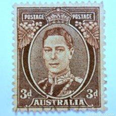 Sellos: SELLO POSTAL AUSTRALIA 1942, 3 D, REY GEORGE VI, USADO . Lote 153277546