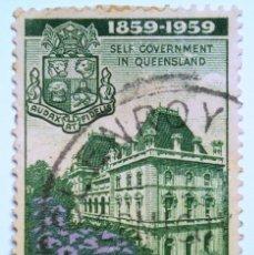Sellos: SELLO POSTAL AUSTRALIA 1959, 3 1/2 D, AUTOGOBIERNO EN QUEENSLAND, USADO. Lote 153290698