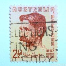 Sellos: SELLO POSTAL AUSTRALIA 1949, 2 1/2 D,HENRY HERTZBERG LAWSON, USADO. Lote 153295966