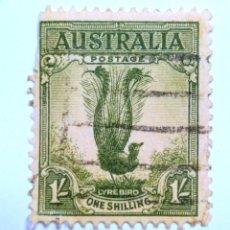 Sellos: SELLO POSTAL AUSTRALIA 1941, 1 CHELÍN, SUPERB LYREBIRD, USADO. Lote 153296834