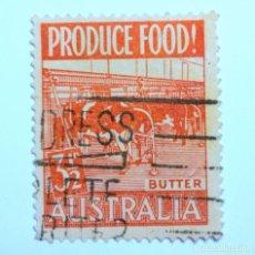 Sellos: SELLO POSTAL AUSTRALIA 1953, 3 1/2 D, PRODUCCIÓN MANTEQUILLA , USADO. Lote 153297426
