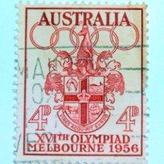 Sellos: SELLO POSTAL AUSTRALIA 1956, 4 D,OLIMPIADAS MELBOURNE 1956, USADO. Lote 153340746