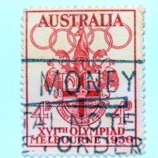 Sellos: SELLO POSTAL AUSTRALIA 1956, 4 D,OLIMPIADAS MELBOURNE 1956, USADO. Lote 153341062
