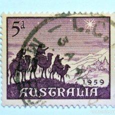 Sellos: SELLO POSTAL AUSTRALIA 1959, 5 D, LOS 3 REYES MAGOS CAMINO A BELEN, USADO. Lote 153341438