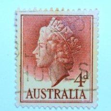 Sellos: SELLO POSTAL AUSTRALIA 1957, 4 D, REINA ELIZABETH II, USADO. Lote 153420210