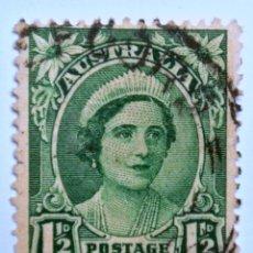 Sellos: SELLO POSTAL AUSTRALIA 1942, 1 1/2 D, REINA ELIZABETH , USADO. Lote 153540658