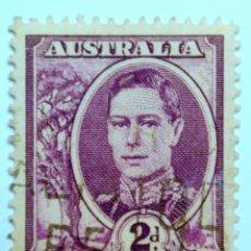 Sellos: SELLO POSTAL AUSTRALIA 1948, 2 D, REY GEORGE VI, USADO. Lote 153561166